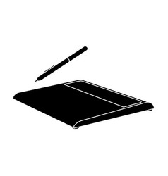 drawing tablet icon in black style isolated on vector image