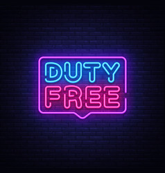 duty free neon sign duty free design vector image