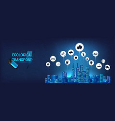 E-mobility icons completely ecological city vector