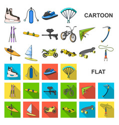 extreme sport cartoon icons in set collection for vector image
