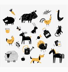 Flat cute farm animals vector