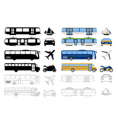 flat urban transport icon cartoon outline vector image