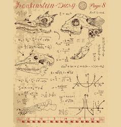 Frrankentsein diary with fantasy monster skulls vector