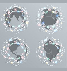 Global connections network earth icons set vector