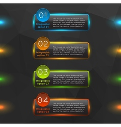 Glowing glass infographics options vector