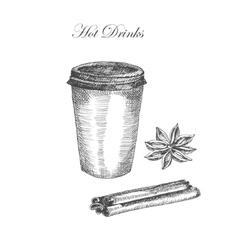 hand drawn ink sketch of coffe cinnamon vector image