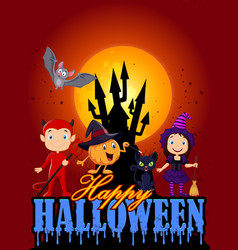 happy halloween with little kid on the castle back vector image