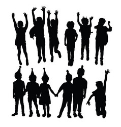 happy jumping children silhouettes vector image
