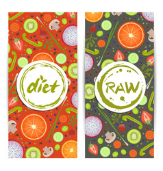 healthy diet vertical flyers set vector image