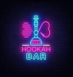 Hookah bar neon sign night hookah design vector