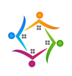 Houses teamwork logo real estate vector image