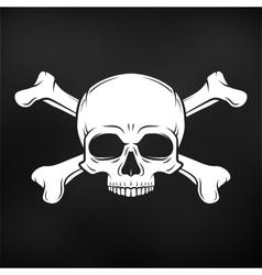 Human evil skull on black background Jolly vector