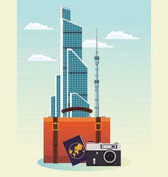 Iconic buildings and suitcase with passport and vector