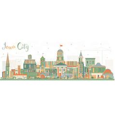 Iowa city skyline with color buildings vector