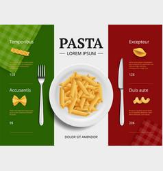 Italian menu cover pasta on plate delicious vector