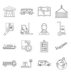 Logistic icons set outline style vector image