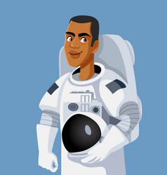 Male astronaut wearing space suit holding his vector