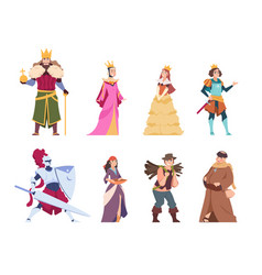 Medieval characters flat historical people king vector