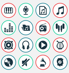 Multimedia icons set collection of earmuff lyre vector