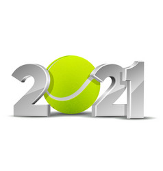 new year numbers 2021 with tennis ball isolated vector image