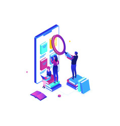 online reading - modern colorful isometric vector image