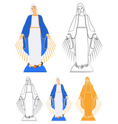 Our lady grace colored and outline only vector