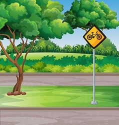 Park scene with bicycle lanes vector image