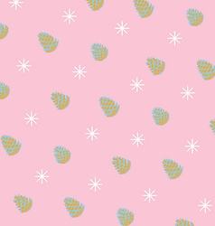 Pattern of pinecones and snowflakes vector image