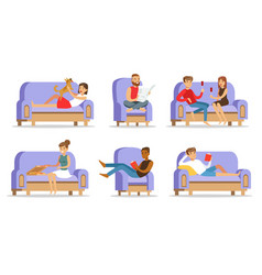 People relaxing at home on couch vector