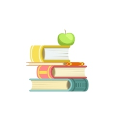 Pile Of Thick Books With An Apple On Top vector