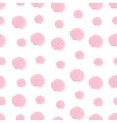 Pink hand drawn watercolor polka dot seamless vector