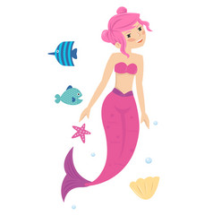 pink young pretty little mermaid princess in the vector image