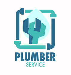 plumber service logo with pipe wrench and water vector image