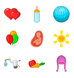 Pregnancy icons set cartoon style vector