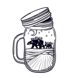printing with a beautiful jar and northern bear vector image