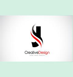 Red and black j letter design brush paint stroke vector