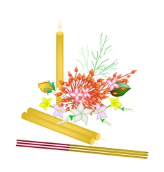 Red Ixora Flowers with Joss Sticks and Candle vector