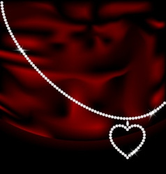 Red silk and jewel heart vector