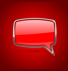 Red speech bubble rectangular 3d icon with chrome vector