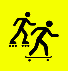 Rollers and skateboarders sign vector