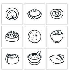 Russian traditional cuisine icons set vector image