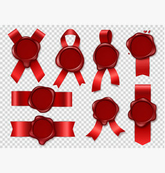 Seal candle stamp red ribbons with original vector