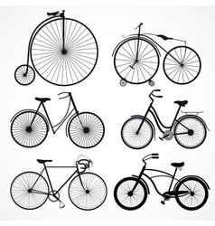 set bicycles on a white background vector image