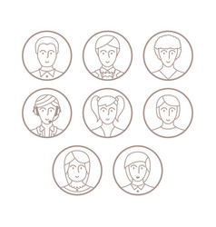 Set of avatars and characters in mono thin line vector