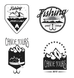 Set of vintage fishing labels vector