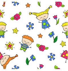 smiling child doodle characters seamless pattern vector image