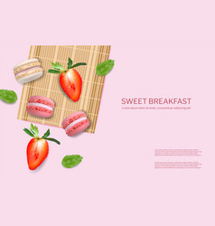 Strawberry macaroons realistic 3d detailed vector