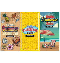 Summer sale retro flyer set vector