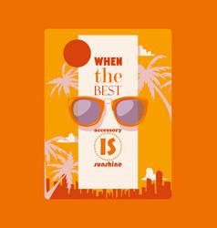 Sunglasses fashionable accessory poster sun vector