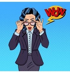 Surprising Business Woman Pop Art vector